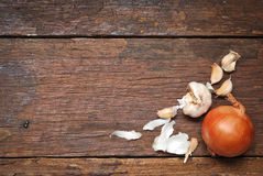 Wood table background with onion Stock Photo