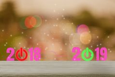 Wood table with backgrounds, sparkling and festive holiday festivities, abstract concept red shutdown countdown 2018 and open royalty free illustration