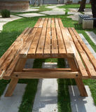 Wood table with bench. Place in garden royalty free stock photo