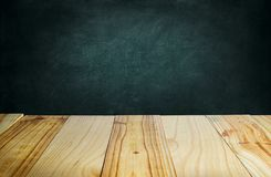 Wood table and blackboard background vector illustration