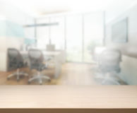 Wood Table Of Blur Background in Office Royalty Free Stock Photo