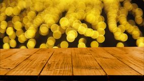 Wood table on bokeh background Stock Photography