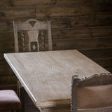 Wood table and chair Stock Photos
