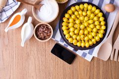 Wood table with Delectable imitation fruits, Fruit Shaped Mung Beans,Homemade cake, Thai traditional dessert. Delectable imitation fruits, Fruit Shaped Mung royalty free stock photo