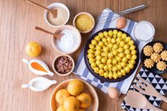 Wood table Delectable imitation fruits, Fruit Shaped Mung Beans,Homemade cake, Thai traditional dessert. Delectable imitation fruits, Fruit Shaped Mung Beans royalty free stock photos