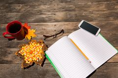 Wood table with fall halloween candy decor Royalty Free Stock Images