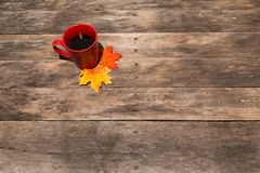 Wood table with fall halloween candy decor Royalty Free Stock Photo