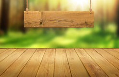 Wood table with hanging wooden sign on green forest blurred background. For display Stock Photography