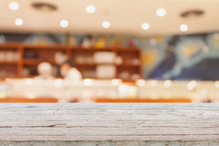 Wood table with japanese restaurant interior background Royalty Free Stock Photos