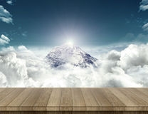 Wood table with mountain sense Royalty Free Stock Images