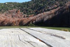 Wood in mountain. Wood table outdoor Royalty Free Stock Images