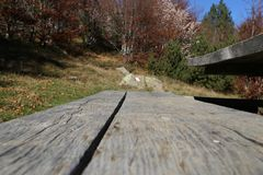 Wood in mountain. Wood table outdoor Royalty Free Stock Photos