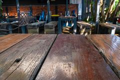 Wood table in resturant stock photography