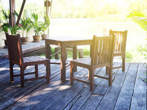 Wood table set in the garden Stock Photography