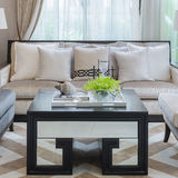 Wood table and sofa in luxury living room Royalty Free Stock Photography
