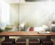 Wood Table  Top Background In Bedroom 3d render Royalty Free Stock Photography