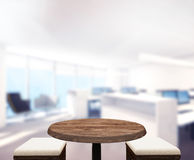 Wood Table Top Background In Office 3d render stock photo