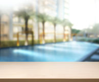Wood Table Top Background And Pool Stock Photography