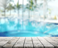 Wood Table Top Background and Pool 3d render royalty free stock images