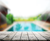Wood Table  Top Background and Pool 3d render Royalty Free Stock Photography