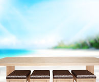 Wood Table  Top Background Sea And Sky 3d render Stock Photography