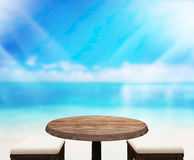 Wood Table  Top Background Sea And Sky 3d render Royalty Free Stock Photography