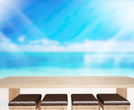 Wood Table  Top Background Sea And Sky 3d render Royalty Free Stock Images