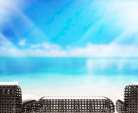Wood Table  Top Background Sea And Sky 3d render Royalty Free Stock Photos