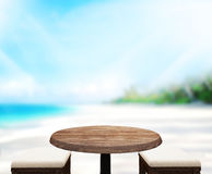 Wood Table  Top Background Sea And Sky 3d render. Wood Table  Top Background Sea And Sky 3d Stock Photo
