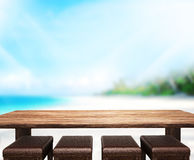 Wood Table  Top Background Sea And Sky 3d render Stock Image