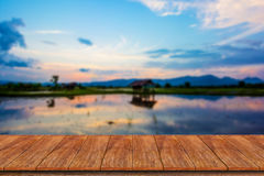 Wood table top on blur nature background Royalty Free Stock Photo