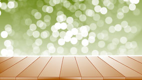 Wood table top on bokeh abstract green background. In nature outside Stock Photo