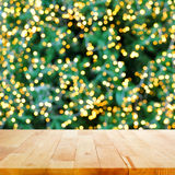 Wood table top with bokeh background Royalty Free Stock Photos