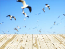 Wood table top on flying birds blurry backgrounds. Royalty Free Stock Photo