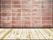 Wood table top on Old red wall in square shape Royalty Free Stock Images
