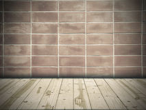 Wood table top on Old red wall in square shape Stock Image