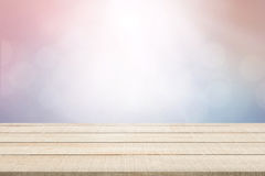 Wood table top panel on pastel background royalty free stock photos