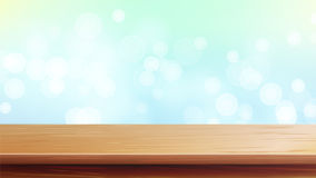 Wood Table Top Vector. Abstract Morning Sunlight. Bokeh Background With Vintage Filter. Blurred Warm Bokeh Background Royalty Free Stock Image
