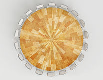 Meeting Wood Table. Round Table 3D rendered, top view Royalty Free Stock Image