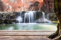 Wood table top on waterfall autumn leaf scene Stock Photography