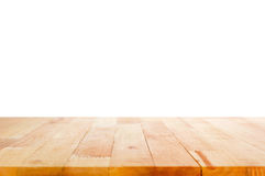 Wood table top on white background Stock Images