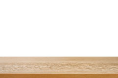 Wood table top on white background. Can montage or display your products on top Stock Photos