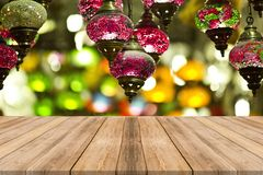 Wood table top with of winter season background. Christmas stock images