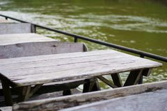 Wood Table and wood chair On the river side. Royalty Free Stock Images