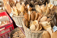 Wood tableware in the market.  Royalty Free Stock Image