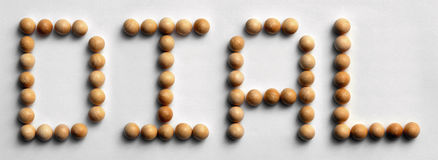 Wood Tack Word Art `Dial` Stock Photo