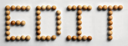 Wood Tack Word Art `Edit`. Photograph of the word `Edit` spelled out with wood push pins Royalty Free Stock Photography