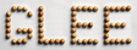Wood Tack Word Art `Glee`. Photograph of the word `Glee` spelled out with wood push pins royalty free stock photography