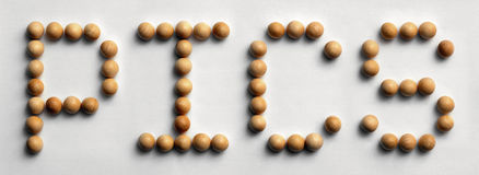 Wood Tack Word Art `Pics`. Photograph of the word `Pics` spelled out with wood push pins royalty free stock images