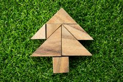 Wood tangram puzzle in Christmas tree shape